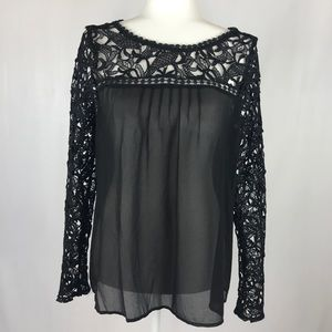 Double Zero Brand black sheer blouse